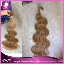 Wholesale unprocessed tangle free shedding free u tip hair extension body wave Indian hair 8-30""