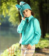 Lady's Blue/Black Satin /Ribbon making hats bonnet with diamond inside