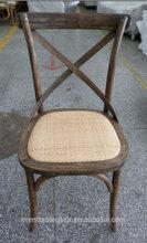Cross-Back Light Brown Oak Banquet Party Chair