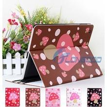 New Cute Mushroom Dot PU Leather Cover Case For iPad2 iPad 3