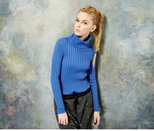 2014 Europe fashion sunflower seeds poloneck rib retro pullover winter sweater