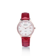 2014 newly luxury women quartz round watch with leather band