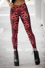 Sexy Animal Printed Polyster Pants Colorful Pants Stretchy Oriental and Chinese Stylish Red Snake print Leggings for Women