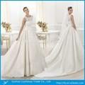 Appliqued cap- manga um- linha de cintura império de cetim branco vestido de casamento árabe foto