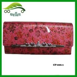 Various designed metal purse fame ladies printing carry wallets