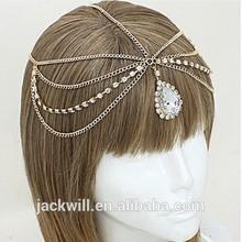 Fashion girl Queen Tear Drop Crystal Head Chain Headpiece headband hair accessories