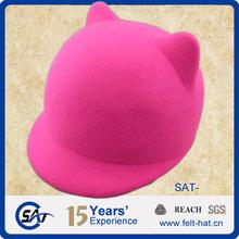 2015 new style fashion cat ears wool felt children hat