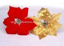 Cheap wholesale price 7 heads Artificial velvet Poinsettias Flower