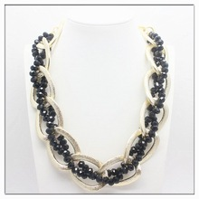 Fashion jewelry chunky black glass bead necklace gold alloy necklace choker necklace