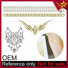 Wholesale gold and silver foil custom metallic temporary tattoo