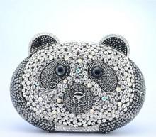 S08123 Luxury panda shaped crystal clutch handbag animal design evening bag