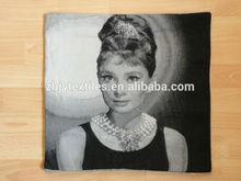 jacquard polycotton cushion for home &hotel decoration &promotion&gift &supermarket retail--black and white audrey hepburn