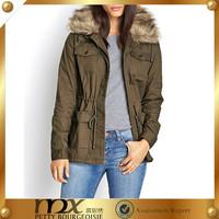 Fashion Winter Women String Cargo Faux Fur Utility Jacket