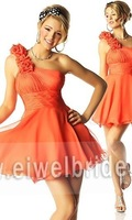 2014 Excellent One Shoulder Hand Made Flowers Beaded Short Sexy Cocktail Dress Patterns