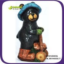 32.7cm creative black resin bear craft supply