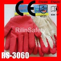 RILIN SAFETY rubber palm working gloves, latex coated work gloves,cotton cloth working glove CE RN388 EN420