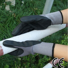 13G poly liner nitrile coated gloves CE EN388 4121