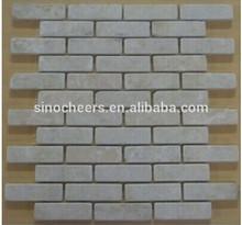 Bottocino Beige Tumbled Bricks Pattern Mesh-Mounted Marble Mosaic