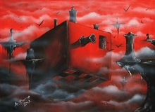 Air island abstract red sky oil painting on canvas 2014 new design