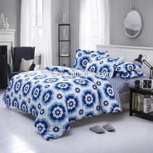 Good quality home bedding set oriental design duvet cover 100% cotton blue flower reactive printed wholesale bedding set