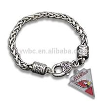 antique silver plated Super Bowl Sports Team Arizona Cardinals Logo Charm bracelet B105789