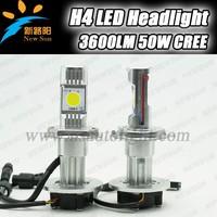 2014 New Upgrade 50W 3600 Lumen LED Headlight H4 Car Headlamp Replacement for Halogen & HID Xenon car headlight kit C REE