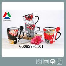11OZ decal stoneware gift mug cup, ceramic mug cup with spoon