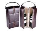 Custom order PU leather 750ml 2 bottle wine box,wine bottle case