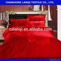 100% de poliéster ab diseño 3d impreso color rojo conjunto ropa de cama para la boda