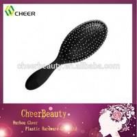 Soft touch detangler boar round plastic hair brush