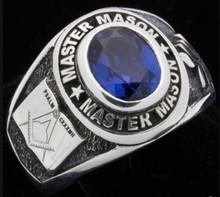 9x7 mm 1.80 Ct. Knight Templar Mason September Blue CZ Stone Men Ring