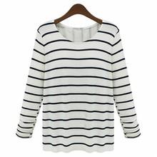 2014 custom new designed fashion women long sleeve shirt, pure cotton striped t shirt