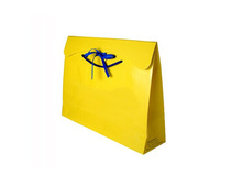 ribbon closure paper bag ,glossy yellow paper shopping bag ,yellow paper gift bag