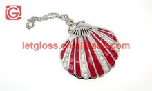 Shell Shaped Compact Mirror with Keyring