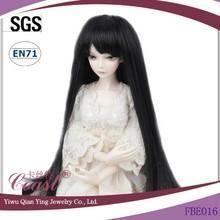 cheap best wholesale beautiful black long straight doll wigs