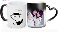 Lovers magic mug with heart handle