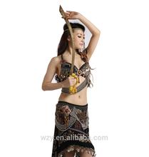 Printing Milk Silk Tribal Belly Dance Costumes , Tribal Dance Wear