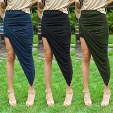 Fashion Women Wrap Banded Waist Draped Asymmetrical Cut Out Models Girls Skirts SV003059#