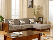 Asian modern oak panel/solid wood fabric leather simplify apartment hilton hotel furniture sofa set for living room