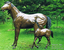 Bronze Mare & Foal Horse Statues HVLA-196R