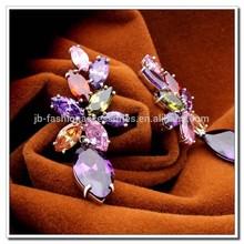 3 Colors Zircon Earrings, Multicolor AAA Zricon Earrings, 18K Platinum Plated Zircon Vintage Luxury Flower Tear Earrings Jewelry