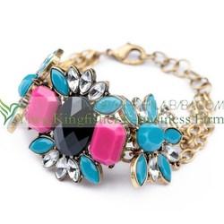Fancy design fashion jewelry adjustable alloy chain crystal rhinestone bracelets for women wholesale