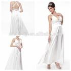 2014 white halter neck evening dress, open back lace evening dress, sexy back evening dress