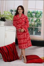 coral fleece robe 100% polyester plush bathrobe women printed sleepwear
