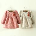 Wholesale2014 outono e inverno roupas recém-coreano grossas de inverno da caxemira impressão crianças meninas vestido qz-1181 sub