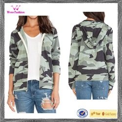 Womens fashion digital camo zip fleece hoodie jacket