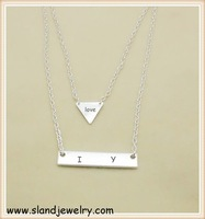 Alibaba gold supplier wholesale I love you engraving stainless steel geometry triangle and bar silver layer Necklace