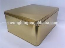 Fancy and beautiful golden rectangle tin box