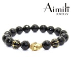 BD61 Fine Jewelry For Men's Agate Beads Gold Bracelets With Silver Buddha Head Bead