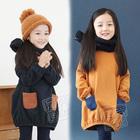 wholesale2014 fall and winter clothes new Korean hit color Girls Children's fleece dress dress child qz-0475